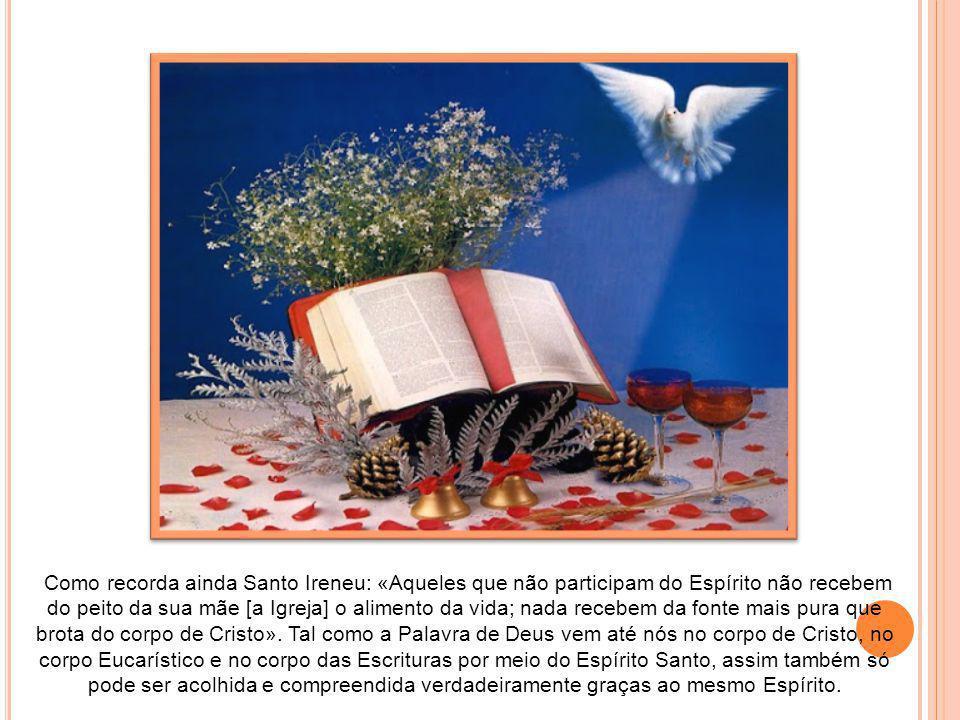 Como recorda ainda Santo Ireneu: «Aqueles que não participam do Espírito não recebem do peito da sua mãe [a Igreja] o alimento da vida; nada recebem da fonte mais pura que brota do corpo de Cristo».